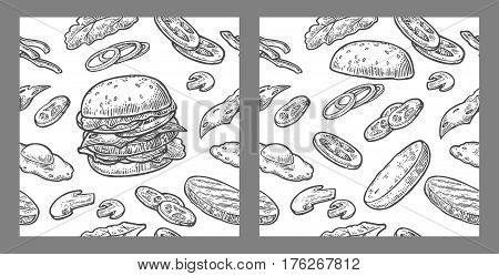 Seamless pattern burger and ingredients include cutlet, tomato, cucumber and salad. Vector vintage black engraving illustration for poster, menu, web, banner, info graphic. Isolated on white background.
