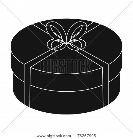 Round green gift with a red ribbon. A box for a cake.Gifts and Certificates single icon in black style vector symbol stock web illustration.