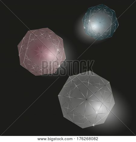 Three diamonds set Drawing on black background transparent stone with shadow author design for decoration clear outline and highlight jewel stock vector illustration
