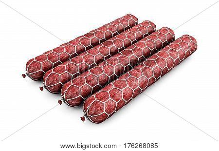 Stick sausage isolated on a white background. 3d render