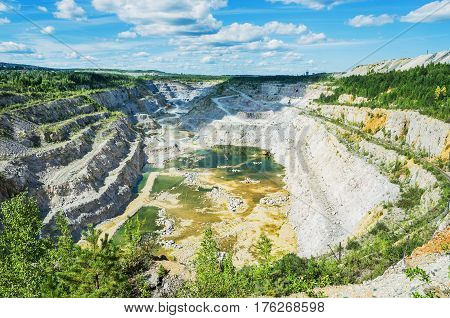 Quarry for mining of dolomite in the vicinity of the city of Nizhny Tagil Russia