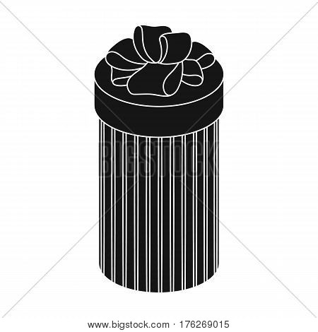 Brown box in the form of a cylinder. Gift wrapping for coffee.Gifts and Certificates single icon in black style vector symbol stock web illustration.