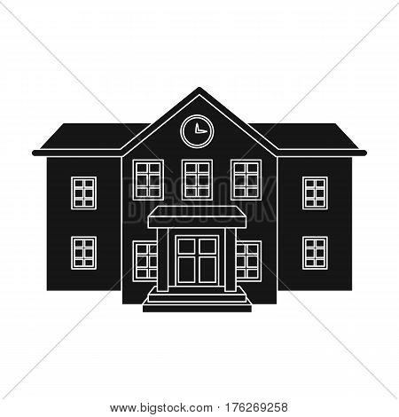 The main entrance of the institution . The school clock above the entrance.School And Education single icon in black style vector symbol stock web illustration.