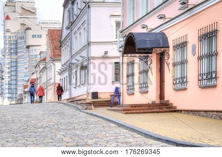 BELORUSSIA MINSK - March 11.2017: Starovilenskaya Street with restored merchant houses in the city center