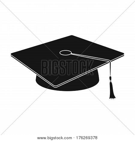 Blue beret with a rope in the center. Cap student . School uniform .School And Education single icon in black style vector symbol stock web illustration.