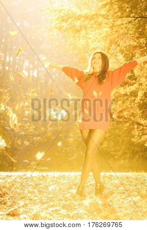 Girl tossing up leaves. Young woman in autumnal forest playing with foliage. Nature outdoor relax concept.