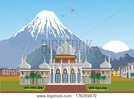 Arabian Palace with mountains in the background. Mountain range. Landscape-sunrise over the mountain range. Vector illustration