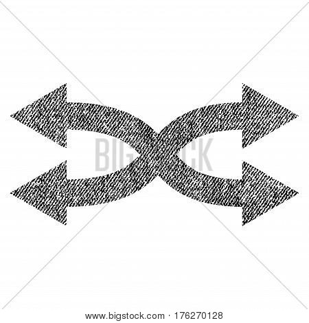 Shuffle Arrows Horizontal vector textured icon for overlay watermark stamps. Fabric black vectorized texture. Symbol with dust design. Rubber seal stamp with fiber textile structure.
