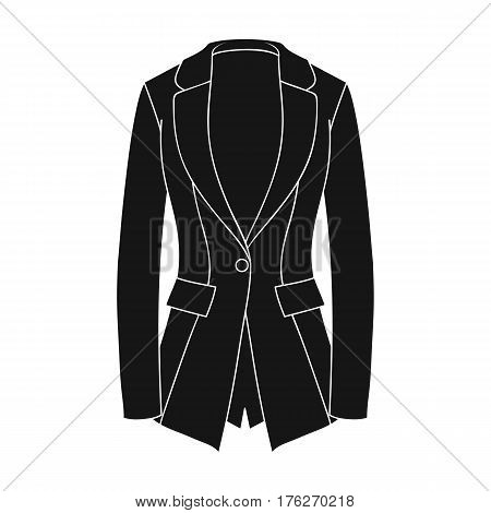Grey Women s jacket with pockets. Work austere style.Women clothing single icon in black style vector symbol stock web illustration.