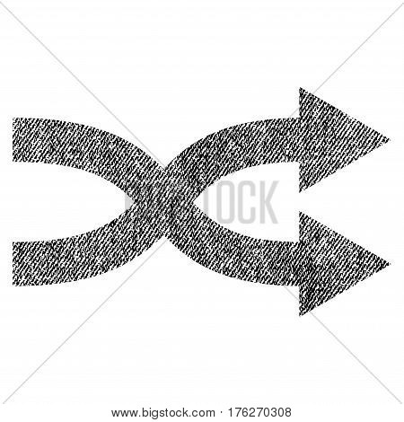 Shuffle Arrows Right vector textured icon for overlay watermark stamps. Fabric black vectorized texture. Symbol with unclean design. Rubber seal stamp with fiber textile structure.