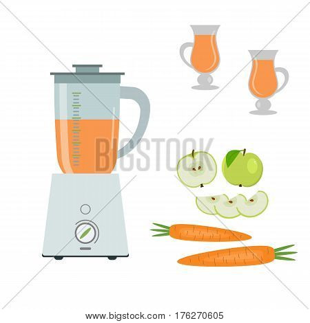 Blender, green apples and carrots, isolated on a white background. Also two glasses of juice in the picture. Vector flat illustration.