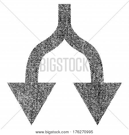 Split Arrows Down vector textured icon for overlay watermark stamps. Fabric black vectorized texture. Symbol with dust design. Rubber seal stamp with fiber textile structure.
