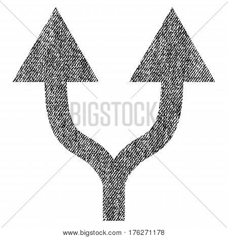 Split Arrows Up vector textured icon for overlay watermark stamps. Fabric black vectorized texture. Symbol with scratched design. Rubber seal stamp with fiber textile structure.