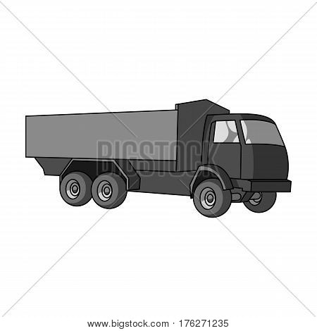 Pickup rural truck. Tow auto. Truck with orange body for the transport of agricultural crops.Agricultural Machinery single icon in monochrome style vector symbol stock web illustration.