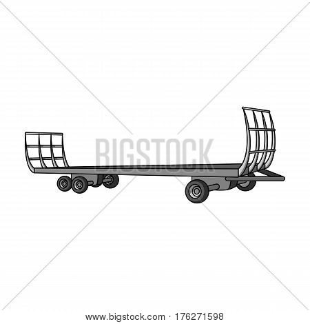 Specialized trailer on wheels for trucks for transportation of hay bales.Agricultural Machinery single icon in monochrome style vector symbol stock web illustration.