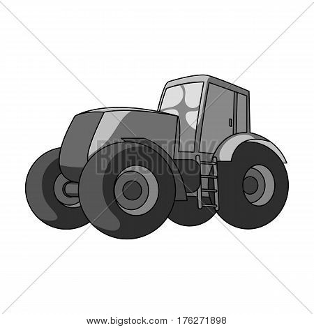 Combine harvesting .Green tractor with large wheels. Agricultural equipment for farmers.Agricultural Machinery single icon in monochrome style vector symbol stock web illustration.