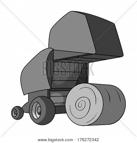 Round hay bales. Modern agricultural machinery for  of hay and rolling circles.Agricultural Machinery single icon in monochrome style vector symbol stock web illustration.