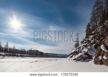 Winter landscape on the Timpton RiverRussiaSouth Yakutia
