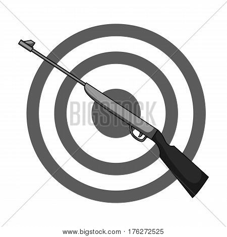 Weapon and target. Shooting gallery in an amusement park.Amusement park single icon in monochrome style vector symbol stock web illustration.