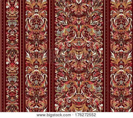 Striped seamless pattern on baroque style. Seamless floral wallpaper. Damask background. Vector illustration. Colorful pattern on vinous background.