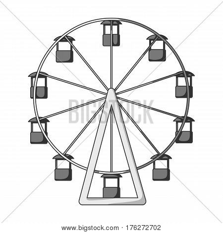 The wheel is in the amusement park. Slow attraction to explore the city.Amusement park single icon in monochrome style vector symbol stock web illustration.
