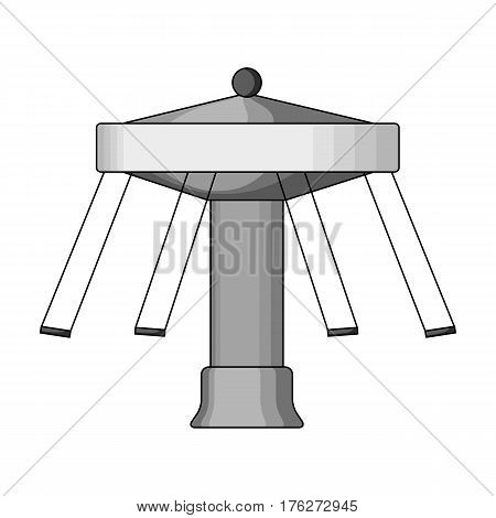 Carousel with seats on chains for children. Amusement park.Amusement park single icon in monochrome style vector symbol stock web illustration.