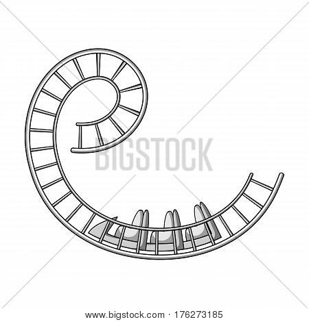 Roller coaster for children and adults. Dead loops, dangerous turns, terrible rides.Amusement park single icon in monochrome style vector symbol stock web illustration.