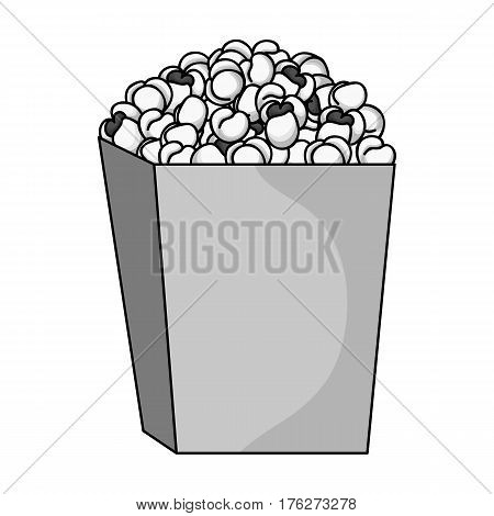 Popcorn in a blue box. Food for an amusement park and a movie trip.Amusement park single icon in monochrome style vector symbol stock web illustration.