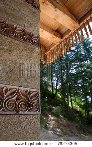 MANALI, INDIA. Tripura Sundari Temple, decorated with beautiful carvings. Naggar, district Kullu in Himachal Pradesh, India.