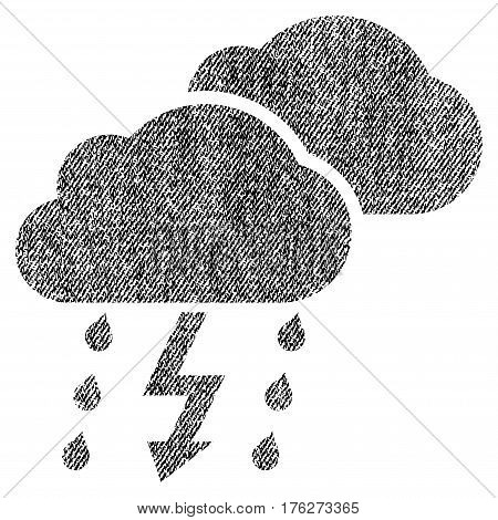 Thunderstorm Clouds vector textured icon for overlay watermark stamps. Fabric black vectorized texture. Symbol with scratched design. Rubber seal stamp with fiber textile structure.