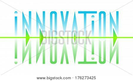 Typography of the word innovation. Abstract stylized design inscription innovation