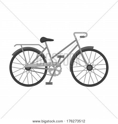 Green female bicycle frame with a scythe.Different Bicycle single icon in monochrome style vector symbol stock web illustration.