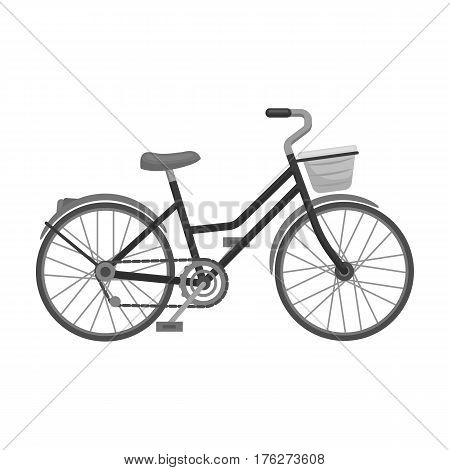 A red bicycle with wheels and basket. The eco-friendly transport.Different Bicycle single icon in monochrome style vector symbol stock web illustration.