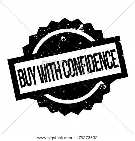 Buy With Confidence rubber stamp. Grunge design with dust scratches. Effects can be easily removed for a clean, crisp look. Color is easily changed.