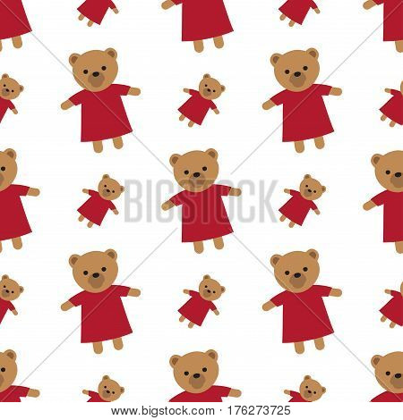 Endless texture with brown teddy bears and white background. Randomly placed soft toys for children wearing red dresses seamless pattern. Wrapping colourful paper for box and present decorating