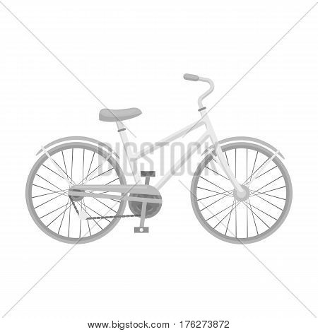 Rural women s bicycle. The vehicle of a healthy lifestyle.Different Bicycle single icon in monochrome style vector symbol stock web illustration.