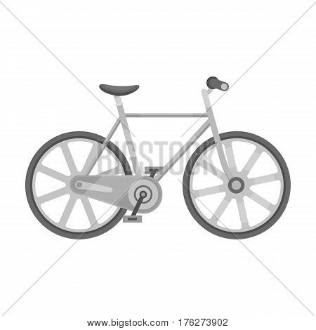 Sport bike racing on the track. Speed bike with reinforced wheels.Different Bicycle single icon in monochrome style vector symbol stock web illustration.