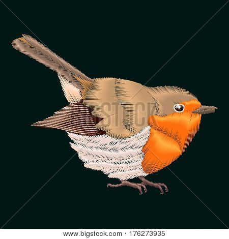 Vector embroidery with robin bird. Illustrations vintage design