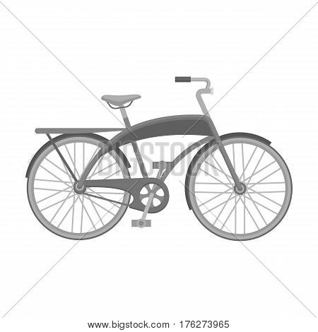 Road bike for walking with a semicircular frame.Different Bicycle single icon in monochrome style vector symbol stock web illustration.