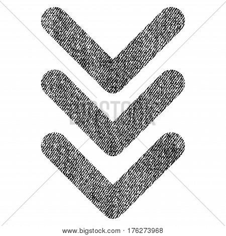 Triple Arrowhead Down vector textured icon for overlay watermark stamps. Fabric black vectorized texture. Symbol with unclean design. Rubber seal stamp with fiber textile structure.