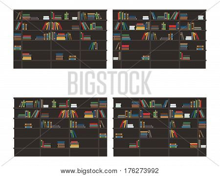 Set of bookshelves filled with books. Classic bookcases with stacks and rows colorful books flat vector isolated on white background. Home library illustration for educational concepts design