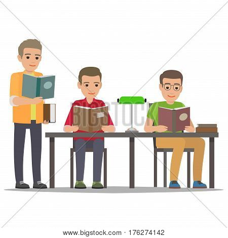 Young men reading textbooks in library. Students seating at the table and standing with open book in hand isolated flat vector. Enthusiastic readers illustration for educational and hobby concept