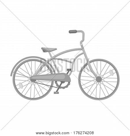 Blue two-wheeled bicycle for a ride through the city. Pleasure of transport.Different Bicycle single icon in monochrome style vector symbol stock web illustration.