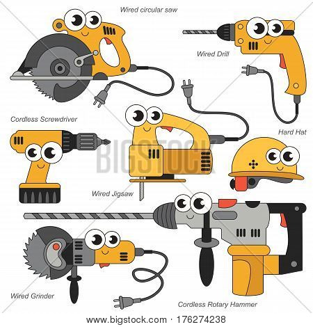 Vector set of Funny Yellow Power Tools.