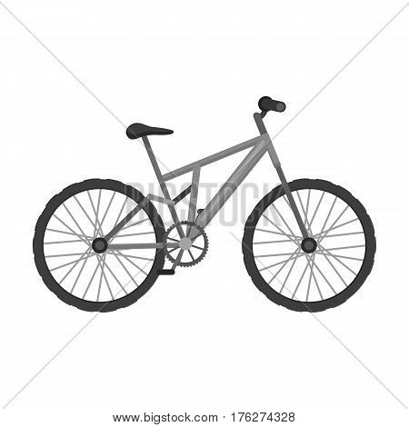 Mountain bike. Cycling downhill from the mountains.Different Bicycle single icon in monochrome style vector symbol stock web illustration.