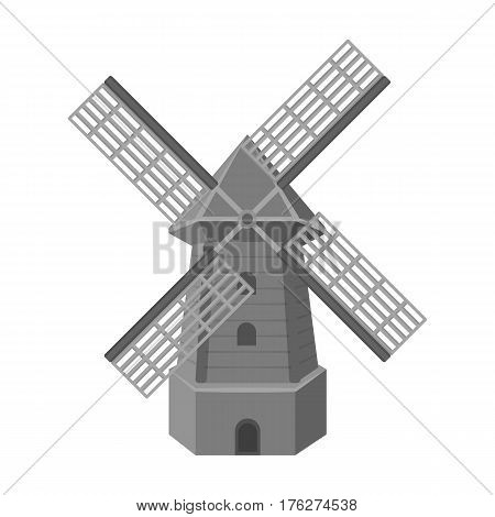 Rural wooden mill. Mill for grinding grain into flour.Farm and gardening single icon in monochrome style vector symbol stock web illustration.