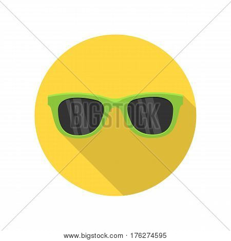 Green sunglasses isolated on the white background. Hipster coolr summer glasses. Women s green sunglasses. Vector illustration in flat