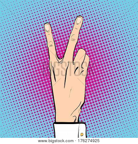 Victory gesture. Hand victory sign. Two fingers up. Victory sign. Victory celebrating. Concept idea of advertisement and promo. Halftone background. Pop art retro style illustration.