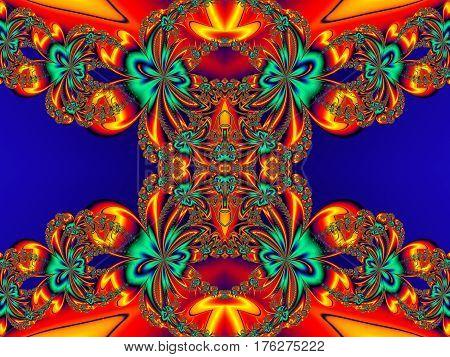 Flower pattern in fractal design. Orange and blue palette. Artwork for creative design art and entertainment.