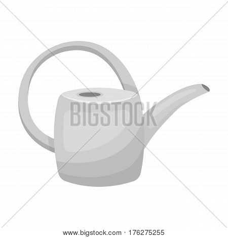 Green plastic watering can for watering flowers in the garden.Farm and gardening single icon in monochrome style vector symbol stock web illustration.